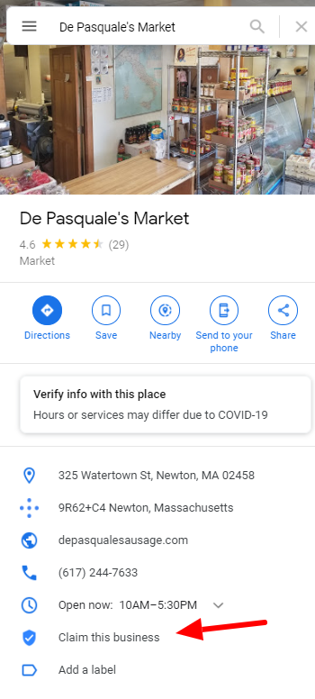 google my business depasquales newton
